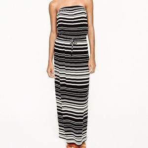 J.Crew Amie Maxi Dress Black White Striped XXS
